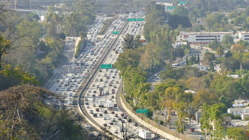 High shot of Los Angeles freeway looking north on the 5 freeway near dodger stadium.