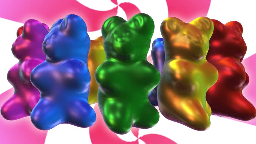 Seamless animation gummy bears dancing.