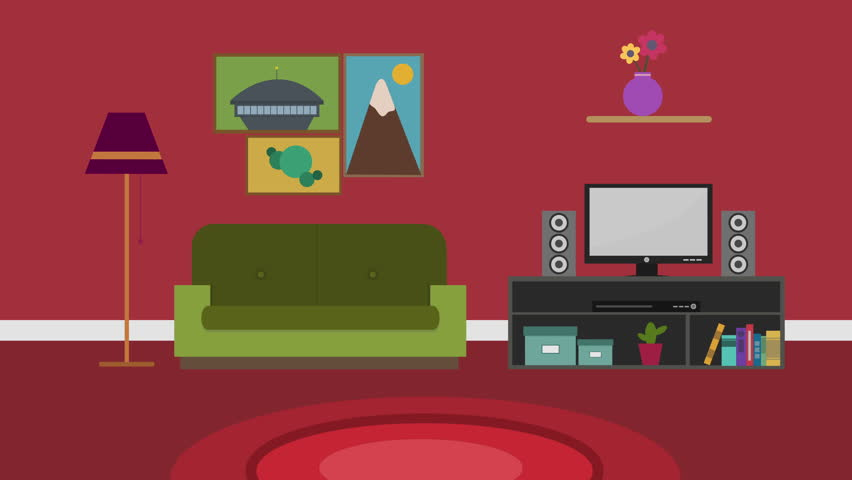 Cartoon Modern Colorful Living Room Stock Footage Video (100 ...