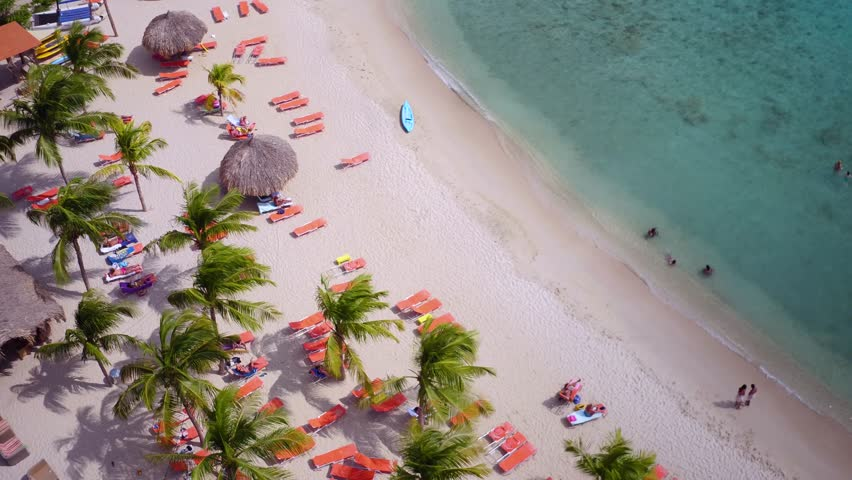 4K aerial of beach at Blue Bay Resort, Curacao | Shutterstock HD Video #20450857