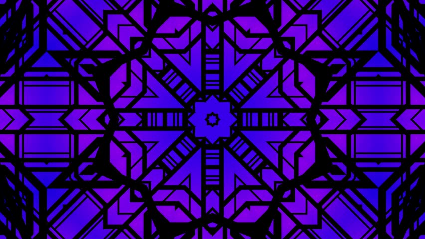 Art deco kaleidoscope loop. ideal for Concert wall animation or Floodlights bright and lively bar lights.glowing warm red purple pinkand other color  tones and sharp straight lines.Navyblue flower