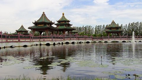 Chinese temple in the lake at historical park Ancient City Bangkok Thailand