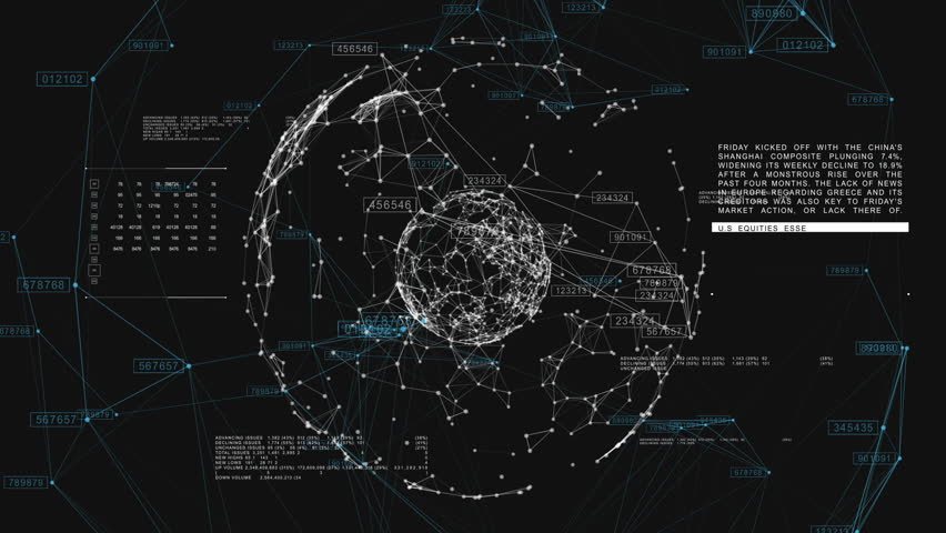3d seamless animation of Global Business Network rotating in Space. Scientific Concept. Looped. HD 1080. #20505250