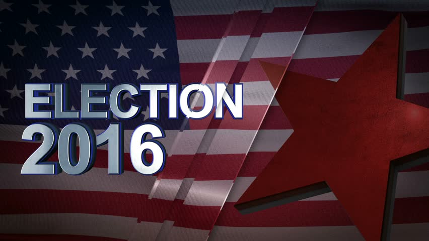 Election 2016 3D Motion Graphics With American Flag Background Looping Animation 4K