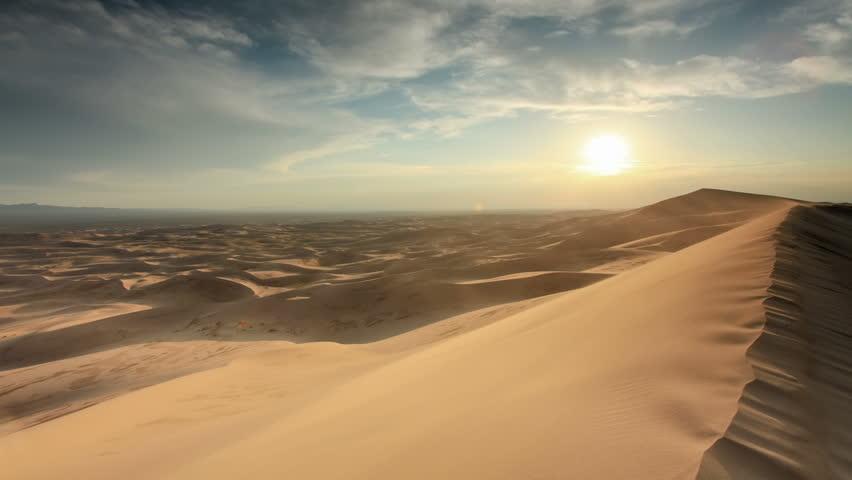Sunset over the Gobi desert, dune Hongoryn, Mongolia. Full HD | Shutterstock HD Video #20509327