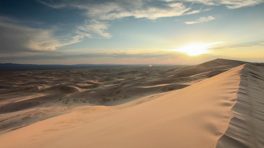 Sunset over the Gobi desert, dune Hongoryn, Mongolia. Full HD | Shutterstock HD Video #20509390
