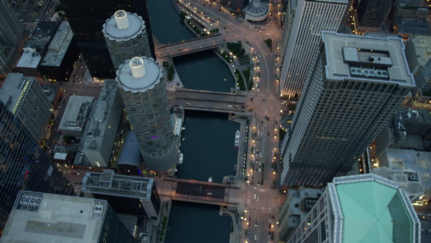 Aerial Chicago USA sunset cityscape illuminated Downtown grid city commuter street skyscraper building travel business outdoor Finance Grid system vertical RED DRAGON