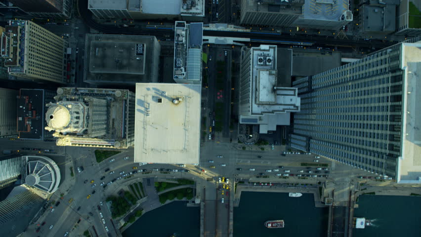 Aerial Chicago USA cityscape Downtown Grid system city commuter street skyscraper building travel business outdoor Finance vertical RED DRAGON | Shutterstock HD Video #20517892