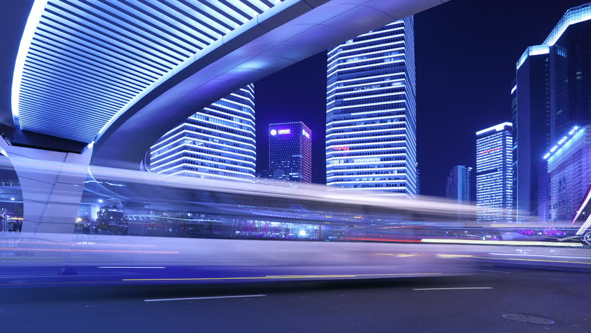 Time-Lapse, city traffic on the modern building background in Shanghai Pudong, China. | Shutterstock HD Video #2054570