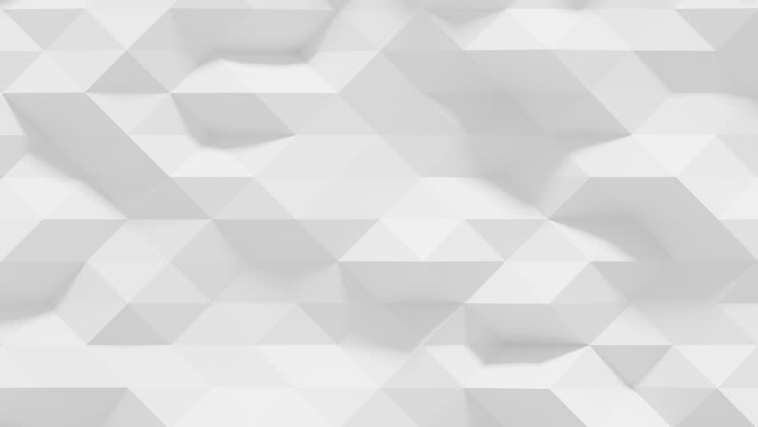 Abstract Polygonal Geometric Surface Loop 1A: clean soft low poly motion background of shifting pure bright white grey triangles, seamless loop 4K UHD, FullHD.