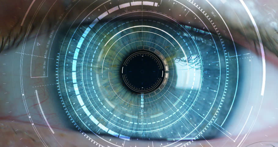 Macro eye 6k resolution futuristic graphical implementation. human being futuristic vision, vision and control and protection of persons, control and security in the accesses. surveillance system | Shutterstock HD Video #20560216