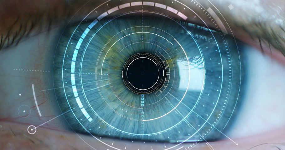 Macro eye 6k resolution futuristic graphical implementation. human being futuristic vision, vision and control and protection of persons, control and security in the accesses. surveillance system | Shutterstock HD Video #20560219
