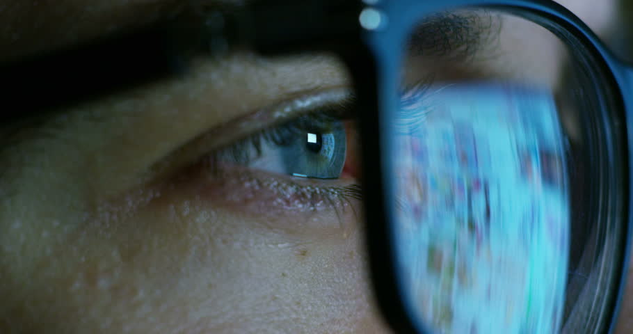 Macro eyes web surfer and the office worker, insurance broker, workaholic, while working in the office evenings, control and security in the accesses, security, concept of internet web application. | Shutterstock HD Video #20560537