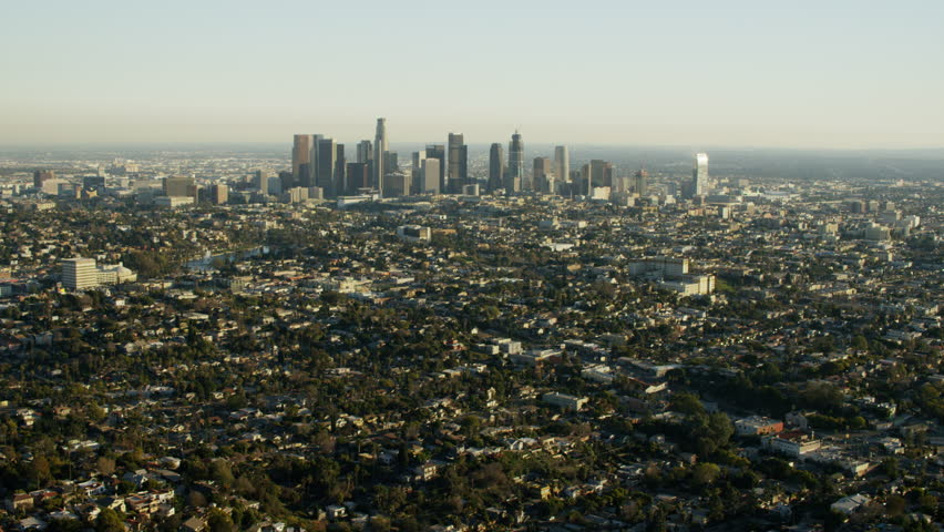 Aerial Los Angeles California USA Skyscraper Downtown city Cityscape commuter corporate Exterior structure outdoor suburbs Residential travel tourism commerce   Shutterstock HD Video #20574613
