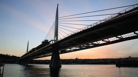 Istanbul, Turkey 09 OCTOBER 2016: Istanbul subway, built on the estuary with the suspension bridge and observation deck provides services to thousands of passengers every day