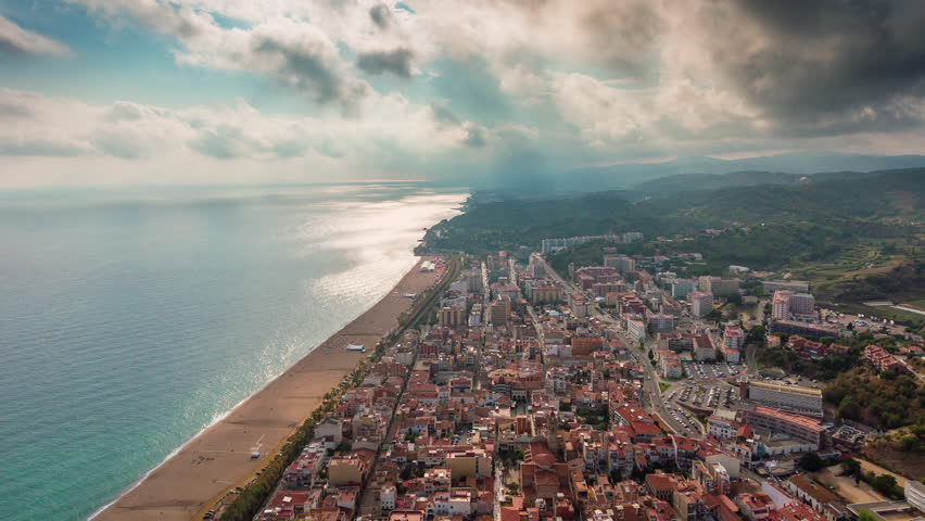 Sunny day barcelona city bay beach aerial panorama 4k time lapse spain