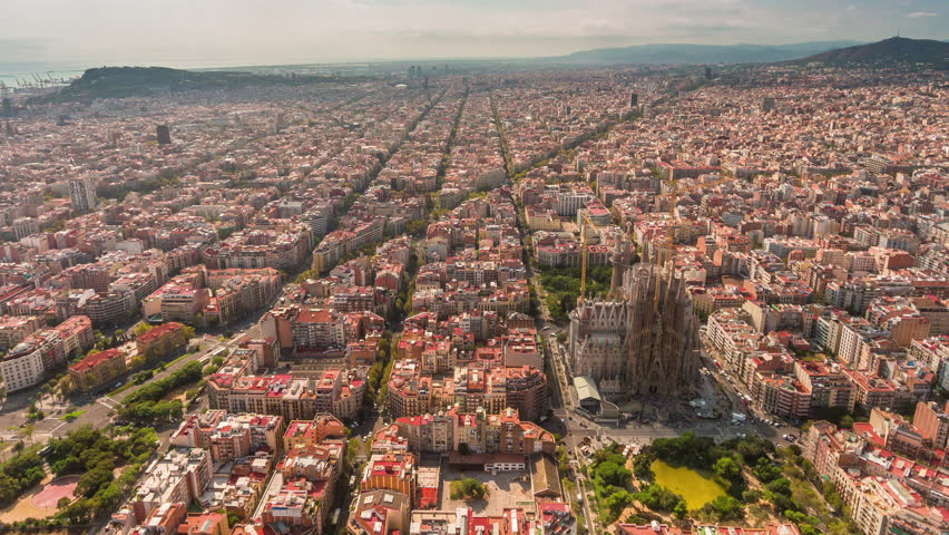 summer day barcelona cityscape aerial panorama 4k time lapse spain #20612944