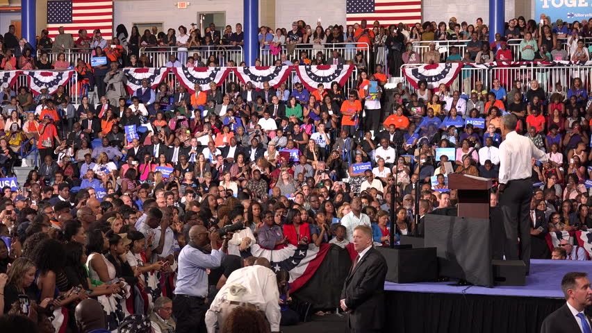 USA, FLORIDA, OCTOBER 20, 2016: President of USA Barack Obama meet with students of Florida Memorial University. Speech on behalf presidential candidate Hillary Clinton. Election. Editorial use only