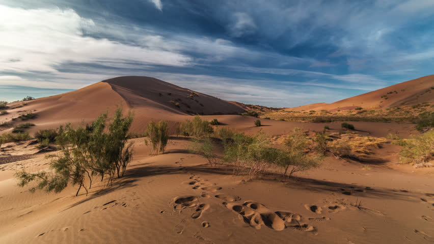 Singing Dunes in desert national park Altyn-Emel, Kazakhstan. 4K TimeLapse - September 2016, Almaty and Astana, Kazakhstan