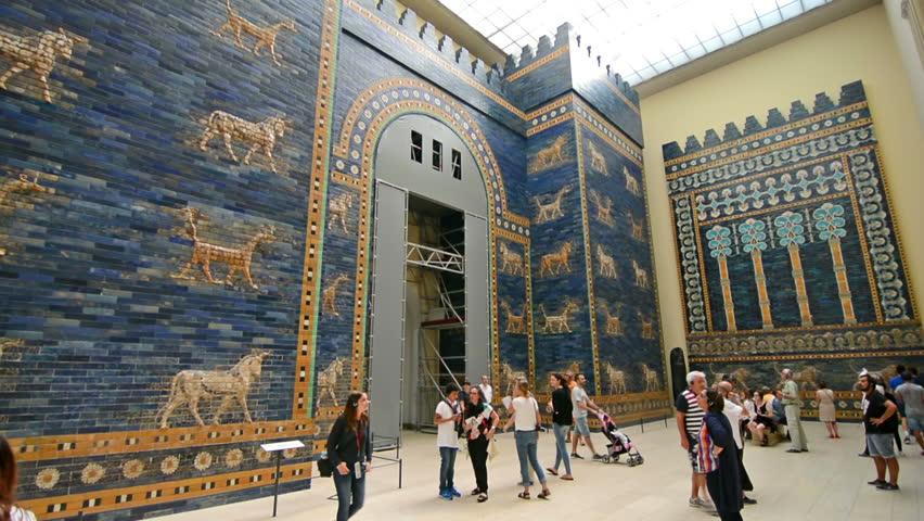 Berlin, Germany. Circa August 2016. Tourists visiting Ishtar gate of Babylon Pergamon museum.