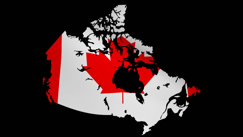 Canada Map Animation Canada Map with Rippling Flag Stock Footage Video (100% Royalty