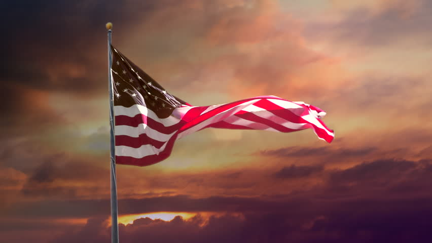 American Flag in Slow Motion. Celebrate USA, Veterans Day, and 4th of July with video if flag waving wind. Great for US Flag Day, American history, corporate ad, patriotism, show USA support.
