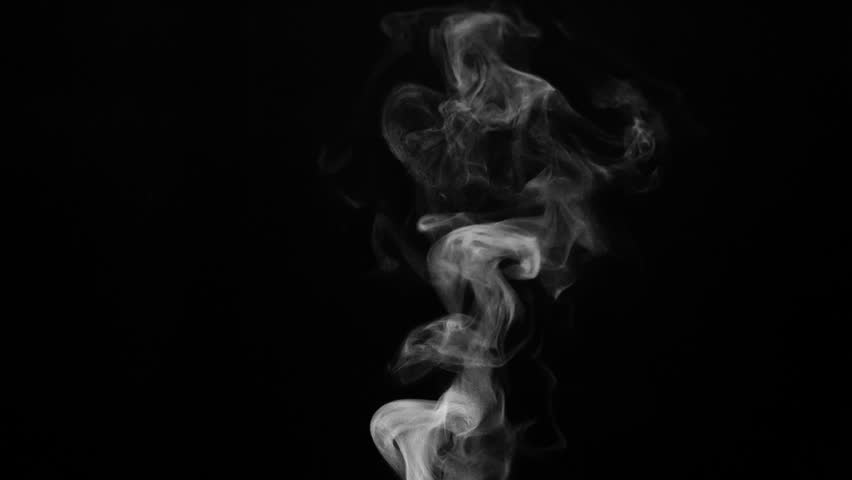 Vapor from the Surface of Hot Coffee. White steam rises light, graceful twists on a black background. Shooting at a rate of 240fps. Footage is perfect for the top layer with different blending modes #20689273
