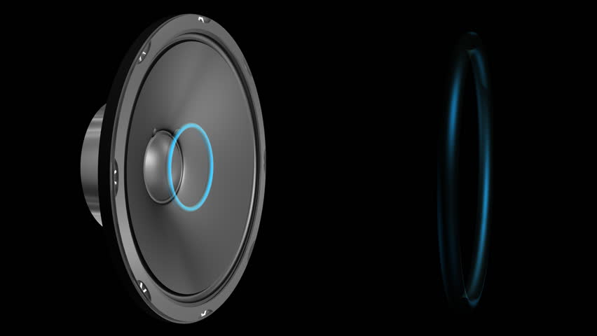 Speaker Emiting Waves Animation With Alpha (HD). 3D rendered animation of a large speaker emitting sound waves as blue rings when cone deforms. Camera orbits around the scene from front to side. #2070191