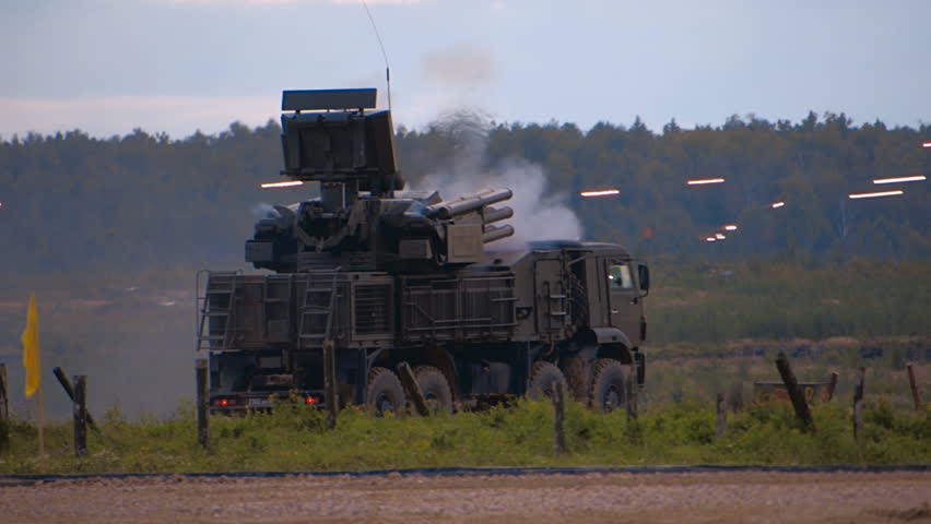 """SA-22 Greyhound"" - Russian self-propelled anti-aircraft missile and gun system carries out the shots at a military training ground during the exercise. Includes audio. Contains audio"
