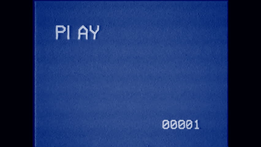 An old bad VHS tape playing. Blue screen with PLAY text and timer. A vintage background for videos, a retro element.