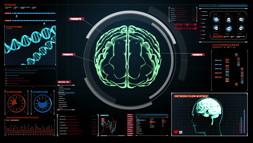 Scanning Brain in digital display dashboard. X-ray view