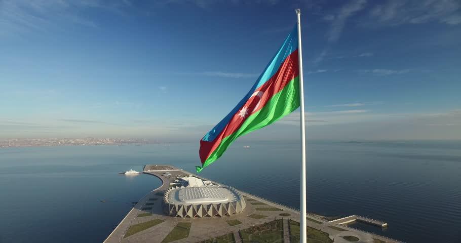 Drone view of the flag square. Baku, Azerbaijan.