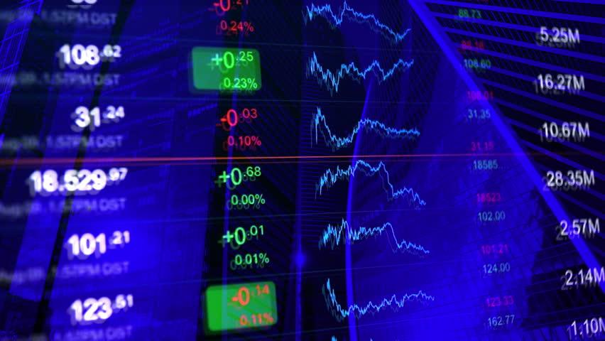 Financial background, finance, financial markets, business concept pattern. Stock exchange board at background of financial buildings. Blue background for market news, business and financial themes. | Shutterstock HD Video #20769232