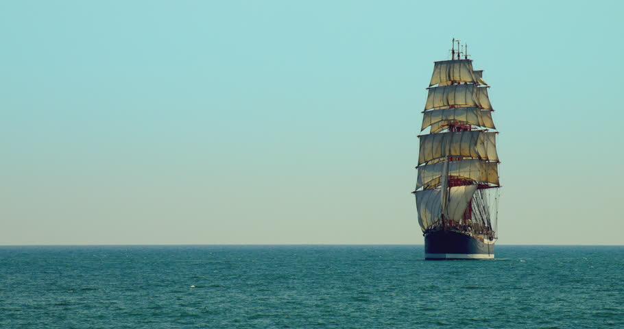 Sailing Ship Day Sailing on the Black Sea on a Blue Sky Background the Sailing Ship 3 Mast #20803639