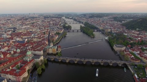 Aerial view of Prague with its architecture and Vltava river with Bridges across it. Czech Republic, Europe