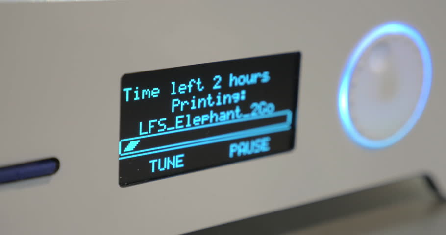 Close-up of display 3D printer while working, showing a progress bar and the time remaining until the end of work on the detail | Shutterstock HD Video #20804449