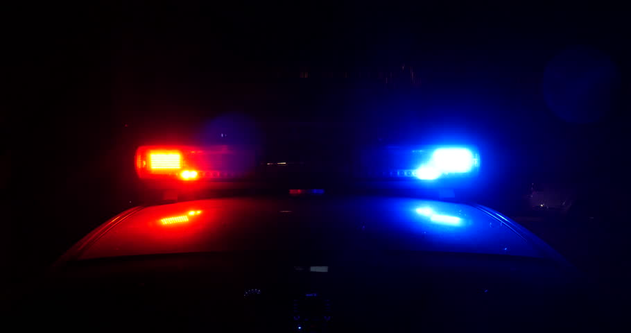 Police lights in flashing at night