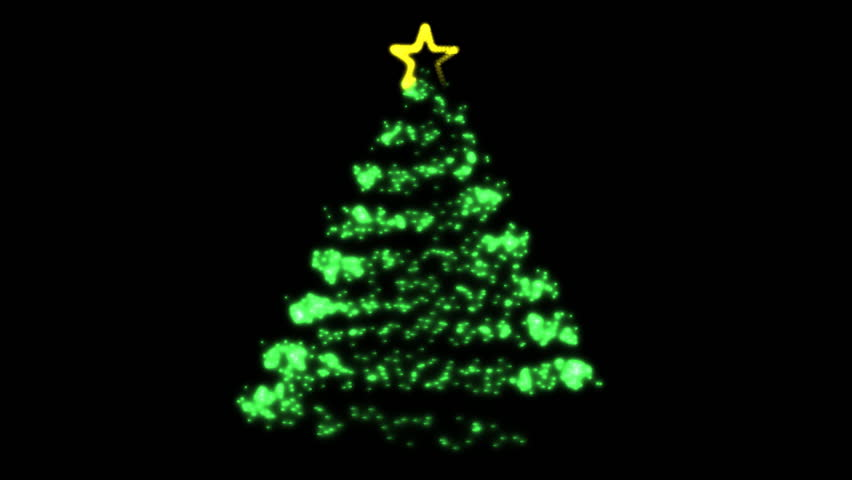 Flowing Light Christmas Tree (HD). Computer animated Christmas tree that builds in a spiral and incorporates a star at the top. Built from over 500k light particle sources. Alpha channel included. | Shutterstock HD Video #2082308