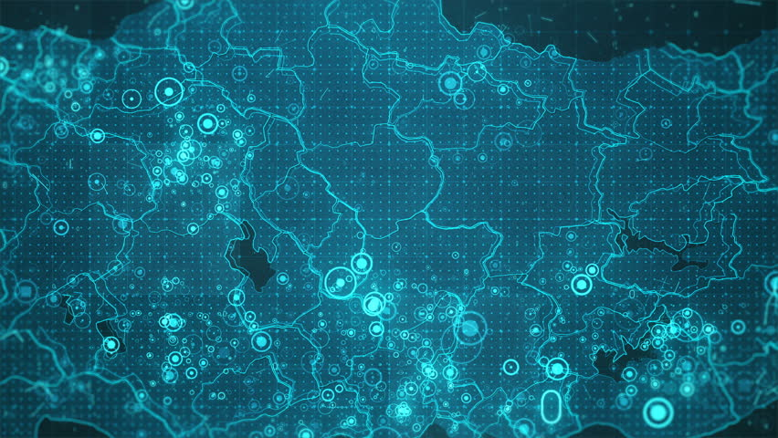 Turkey Map Background Cities Connections. This project includes a map of the Turkey  with the animated background. There are animated glowing round connections in different cities on the map.  | Shutterstock HD Video #20848825