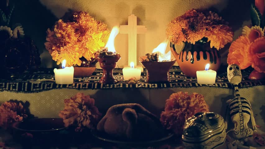 Day of the dead offering altar with