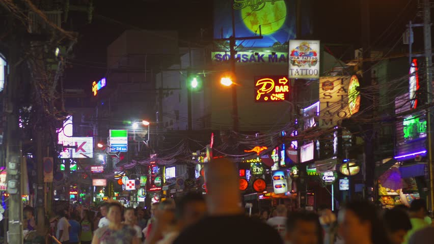 Pubs along Bangla road at night, Phuket Island, Thailand 30 Sept 2014, The most popular tourist night spot, surrounded by lot of bars, restaurants, street shopping and night clubs. | Shutterstock HD Video #20888446