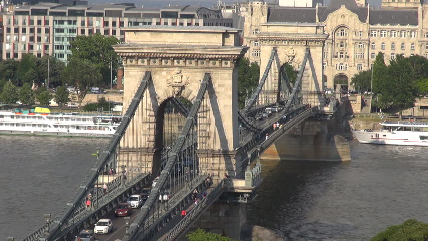 BUDAPEST, HUNGARY - MAY 28: Timelapse of The Szachenyi Chain Bridge and traffic on May 28, 2011 in Budapest.  | Shutterstock HD Video #2088932