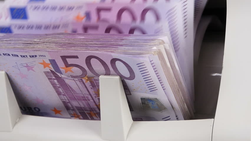 Cash money counting machine. Banknote counter are counting five hundred euro bills. | Shutterstock HD Video #20908756
