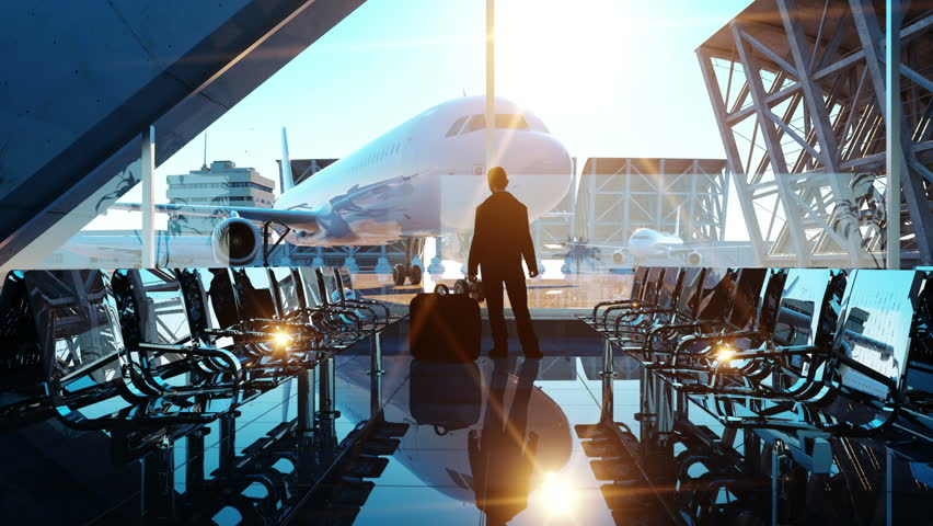 Man in airport terminal. fly animation. Wonderfull sunset. Business and travel concept