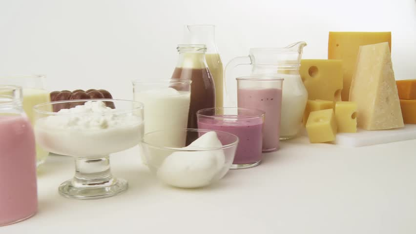 Various dairy products, flavoured milks and cheeses
