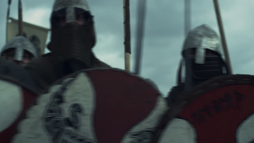Army of Vikings Before Battle. Medieval Reenactment. Shot on RED Cinema Camera in 4K (UHD).