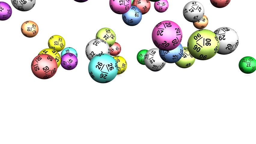 Lotto Balls Bouncing Animation (HD). High Quality Rendering of lotto or Bingo balls with precise numbering in various bright colors falling and bouncing on reflective white surface.