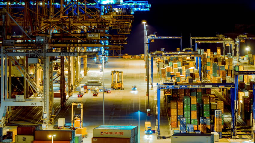 Editorial:October 18 2016,Perama, Athens Greece.4K trading port night timelapse,industrial activity,logistics.Timelapse sequence of machinery handling cargo containers at the now Chinese-owned port. | Shutterstock HD Video #20963782