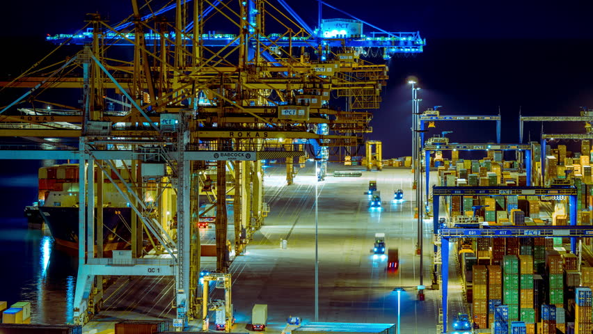 Editorial: October 18 2016, Perama, Athens Greece.4K trading port night timelapse, industrial activity, logistics. Timelapse sequence of machinery handling cargo containers at the now Chinese-owned port. | Shutterstock HD Video #20963785