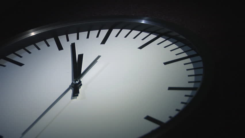 Clock minute, second and hour hands moving fast. Animated Clock in motion.